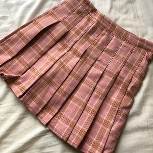 Pink Plaid pleated skirt